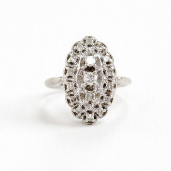 Vintage 14k White Gold 1/2 CTW Diamond Cluster Ring- Mid-Century 1940s 1950s Cocktail Shield Fine Engagement Jewelry