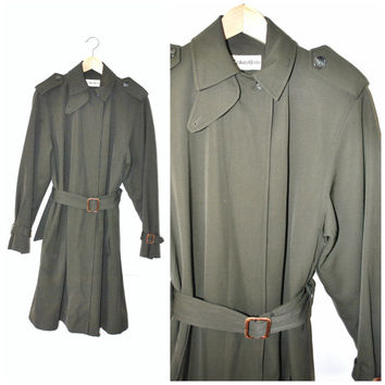 army green CALVIN KLEIN trench coat / vintage 1970s DESIGNER long minimalist olive menswear inspired coat os