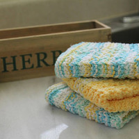 Knit Wash Clothes - 100% USA Cotton - Butter Yellow and Blue / Yellow Multi - Dish Rag - Waffle Pattern Washrag
