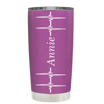 Personalized Heart Beat Pulse on Light Violet 20 oz Tumbler Cup