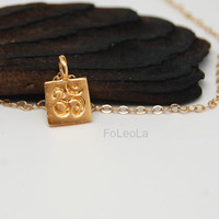 Gold Square Om Necklace-  gold ohm necklaces, yoga necklace, zen necklace, spiritual necklace.