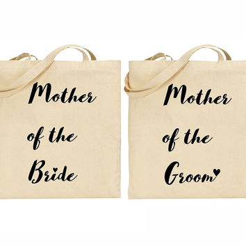 Mother of the Bride and Mother of the Groom Graphic Print Natural Cotton Canvas Tote Bag (Wedding gift, Bridal Shower, Bachelorette Gift)