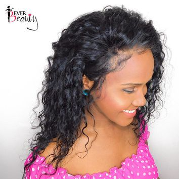 Ever Beauty Loose Curly Lace Front Human Hair Wig Pre Plucked Brazilian Remy Hair