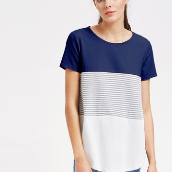 Curved Hem Cut And Sew Striped Tee