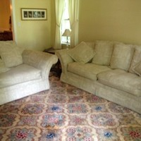Couch and Matching Oversized Chair in Neutral Fabr