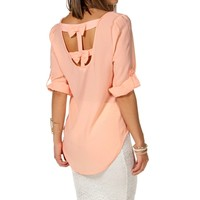 Peach Double Bow Back Top