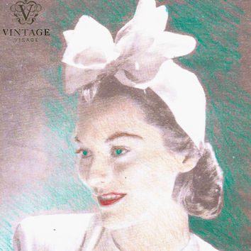 INSTANT DOWNLOAD-Vintage 1940s wartime double bow hat sewing pattern- very easy make - PDF