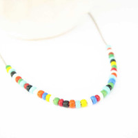 Bridesmaid Jewely Set - Friendship Necklace, Seed Bead, Silver, Colorful, Dainty, Minimalist, Blue, White, Red, Black, Orange, Red, Green