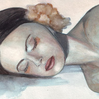 Original watercolor portrait art Sleeping Woman with Yellow Flower painting