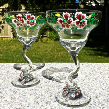 Painted Margarita Glasses With Crystal Wine Glass Charms, Christmas Gift, Xmas Gift, Cocktail Glasses, Gifts For Her, Wine Gift Set