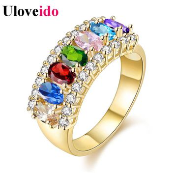 15% OFF Multicolor Gold Color Jewelry Fashion Rings for Women Charms Ring Female Rhinestones Wedding Crystal Gifts J501
