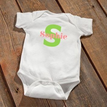 Personalized Baby Onesuit - Baby Girl Initial Design