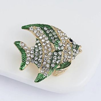 Rhinestone Fish Crystal  Brooch Pin