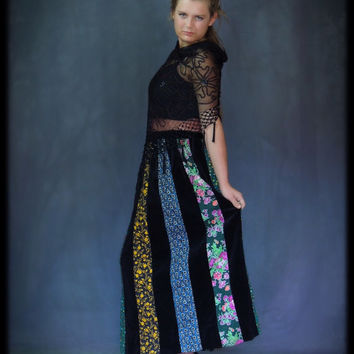 Vintage velvet maxi skirt / hand made true hippie patchwork a-line cut with black against micro floral fabrics / Woodstock