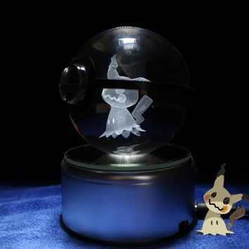 Mimikyu Pokeball Design Crystal 3D Model Pokeball Toy figures for Pokeball Fans Souvenirs