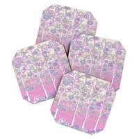 Renie Britenbucher Pink Owls Coaster Set
