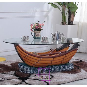 Ship Style Antique Glass Coffee Table