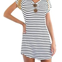 LIZHOUMIL WomenCrew Neck Short Sleeve Striped Loose T-Shirt Mini Dress