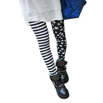 ESBON TFGS Woman Leggings Black with Stripes and Stars Pattern White Fashionable