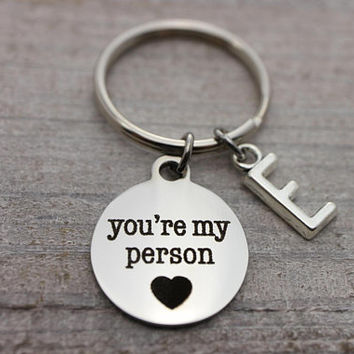 Custom initial you're my person silver key ring