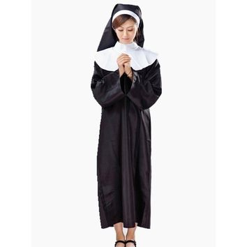 Lady The Virgin Mary Nun Costume Halloween Costumes For Women Cloak Costume Robe+Headscarf Clothing