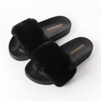 Real Hair Slippers New Ladies Brand Fashion Rabbit Hair Furry Slippers Women Indoor Casual Plush Slippers Zapatillas Feminino