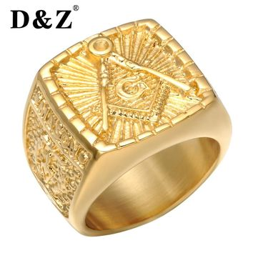 D&Z Vintage Freemasonry Free Masonic Rings of Men Gold Stainless Steel Master Signet Male Masonic Ring Band Punk Jewelry