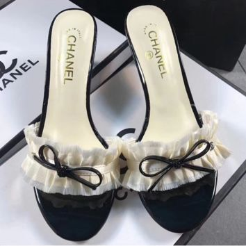 CHANEL Bow High Heels Slippers