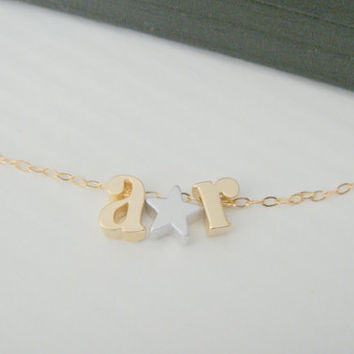 Lowercase Initial Necklace, Alphabet Letter Charm Necklace, Customed Name necklace, Small Star Necklace, Personalized Name Necklace, Letter