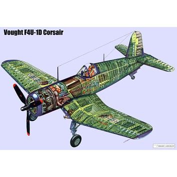 Corsair Airplane Cutaway Aviation Color poster Metal Sign Wall Art 8in x 12in