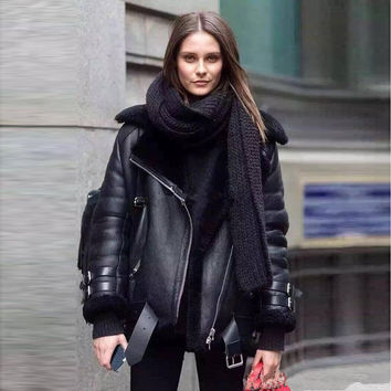 [TWOTWINSTYLE] 2016 winter thick leather fur jacket women basic coats long sleeves new motorcycle streetwear