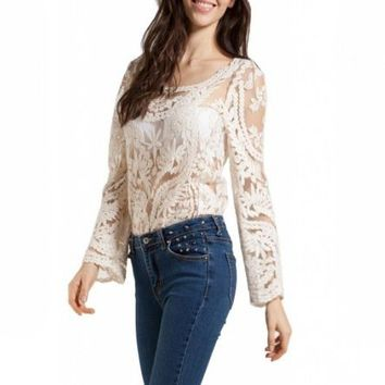 Lookbookstore Women Semi Sexy Sleeve Embroidery Floral Lace White Blouse T-shirt