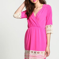 Hot Pink Crochet Trim Wrap Dress - LoveCulture