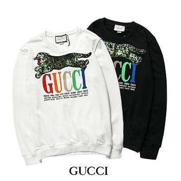 GUCCI sequin embroidery cat head print men and women models wild hooded sweater F-A-KSFZ