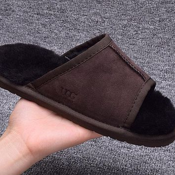 ESBON UGG Open Toe Slipper Sheepskin Women Men Fashion Casual Wool Winter Snow Boots Coffee