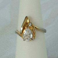 Solitaire Rhinestone Ring Pear Tear Drop Shaped Size 4.5 Vintage Jewelry