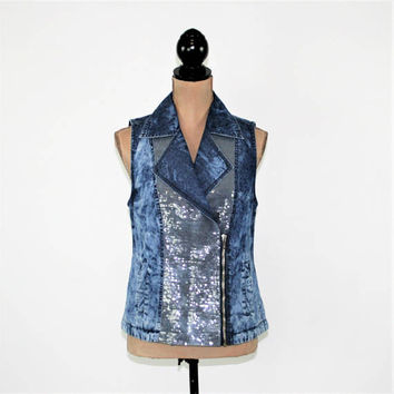 Womens Blue Vest Small Offset Zipper Sequins Acid Wash Denim Vest Blue Tie Dye Vest Cotton Tencel Chico's Womens Clothing