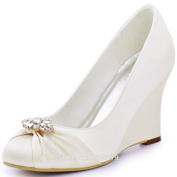 Elegantpark EP2005AL White Ivory Women Round Toe Wedge High Heels Rhinestones Clips Satin Bride Wedding Bridal Party Shoes Pumps