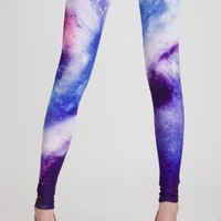 Galaxy Print Leggings in Blue - New Arrivals - Retro, Indie and Unique Fashion