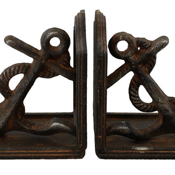 Rustic Heavy Cast Iron Nautical Anchor Bookends