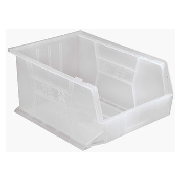 Quantum Plastic Storage Clear-View Ultra Hang and Stack Bin 16 x 11 x 8 - Pack of 4