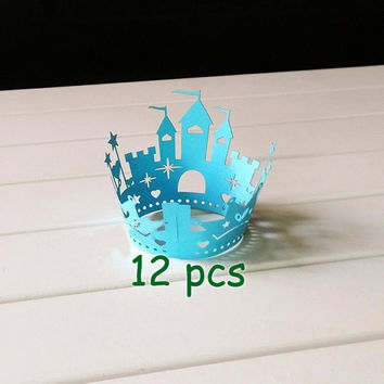 Stencil blue castle Cupcake Wrappers princess castle laser cut wrapper fairytale  wraps collars blue lace wrapper halloween cake wrapper