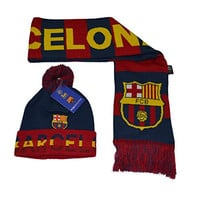 Fc Barcelona Set Beanie Pom Skull Cap Hat and Scarf Reversible (Maroon)