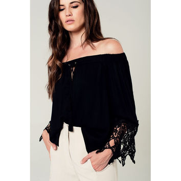 Off shoulder blouse in black with lace detail