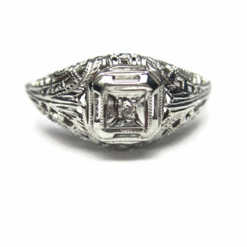 Dainty Antique 10K White Gold Filigree Diamond Engagement Ring Size 6