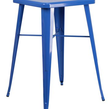 Square Blue Metal Indoor-Outdoor Bar Height Table