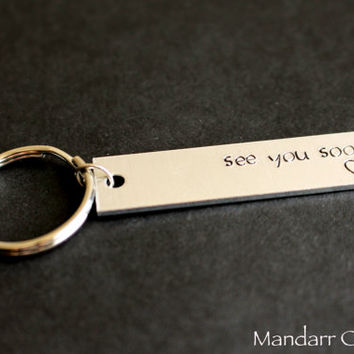 See You Soon, Hand Stamped Keychain with Heart, Couples Accessory, Stamped Aluminum, His Hers, Long Distance Relationship