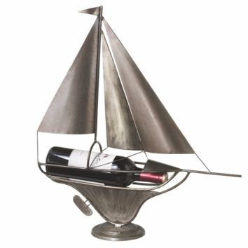 Freestanding Ship Wine Bottle Holder 20-in