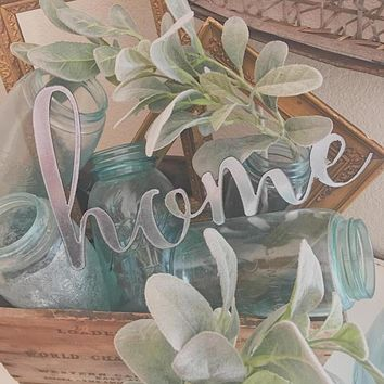 "Silver Galvanized ""Home"" Metal Script Sign"