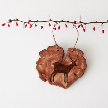 Wood Burned Deer on Cedar Heart.  Woodland Animal Ornament or wall hanging